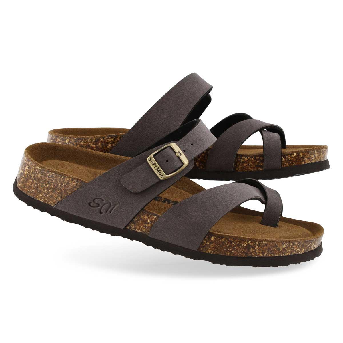 Lds Alicia 5 PU mocha memory foam sandal