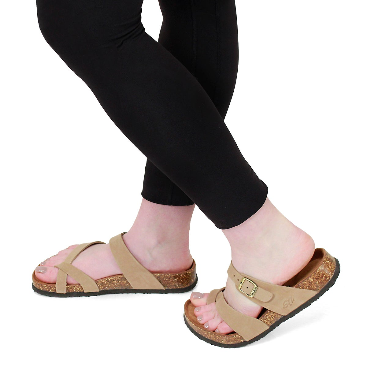 Lds Alicia 5 taupe memory foam sandal