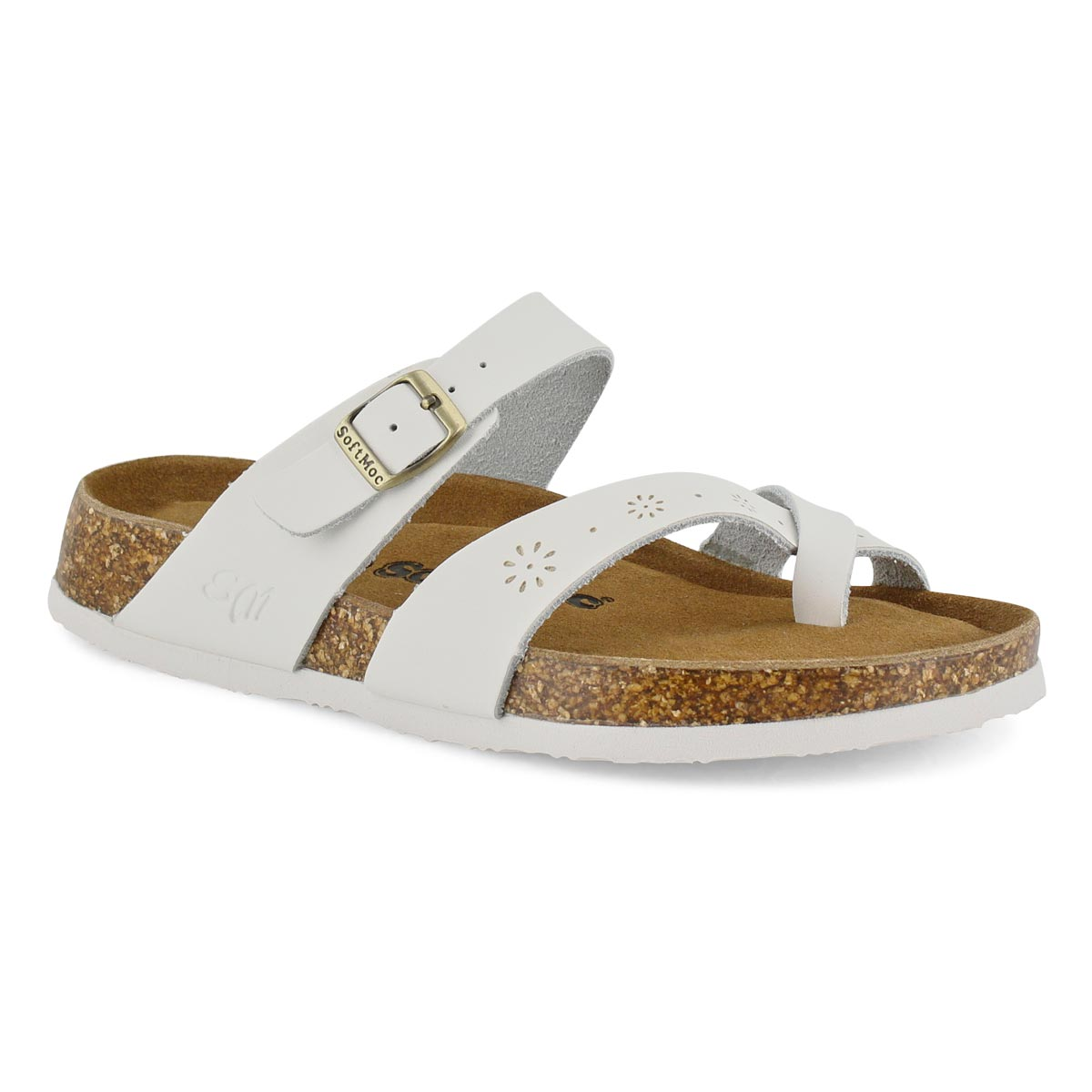 Women's ALICIA 5 white perforated leather sandal