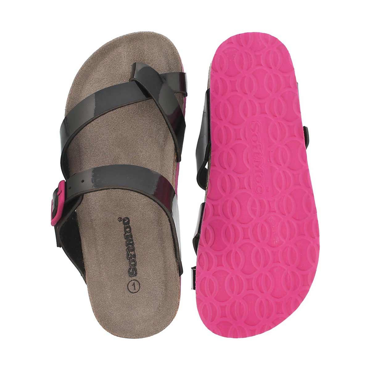 Grls Alicia blk pat toe loop sandal