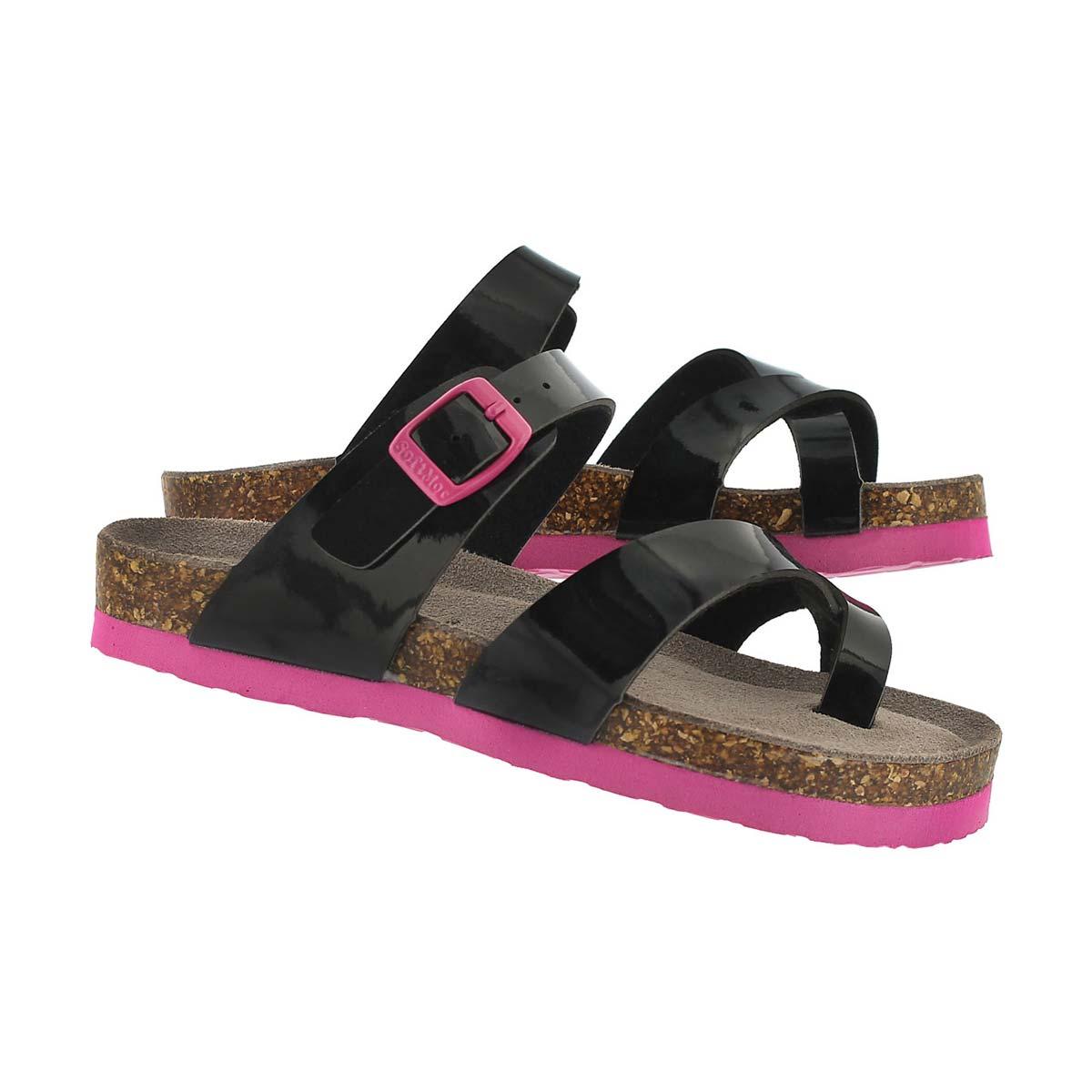 Sandale Alicia, cuir verni noir, filles