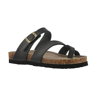 SoftMoc Girls' ALICIA black leather toe loop sandals