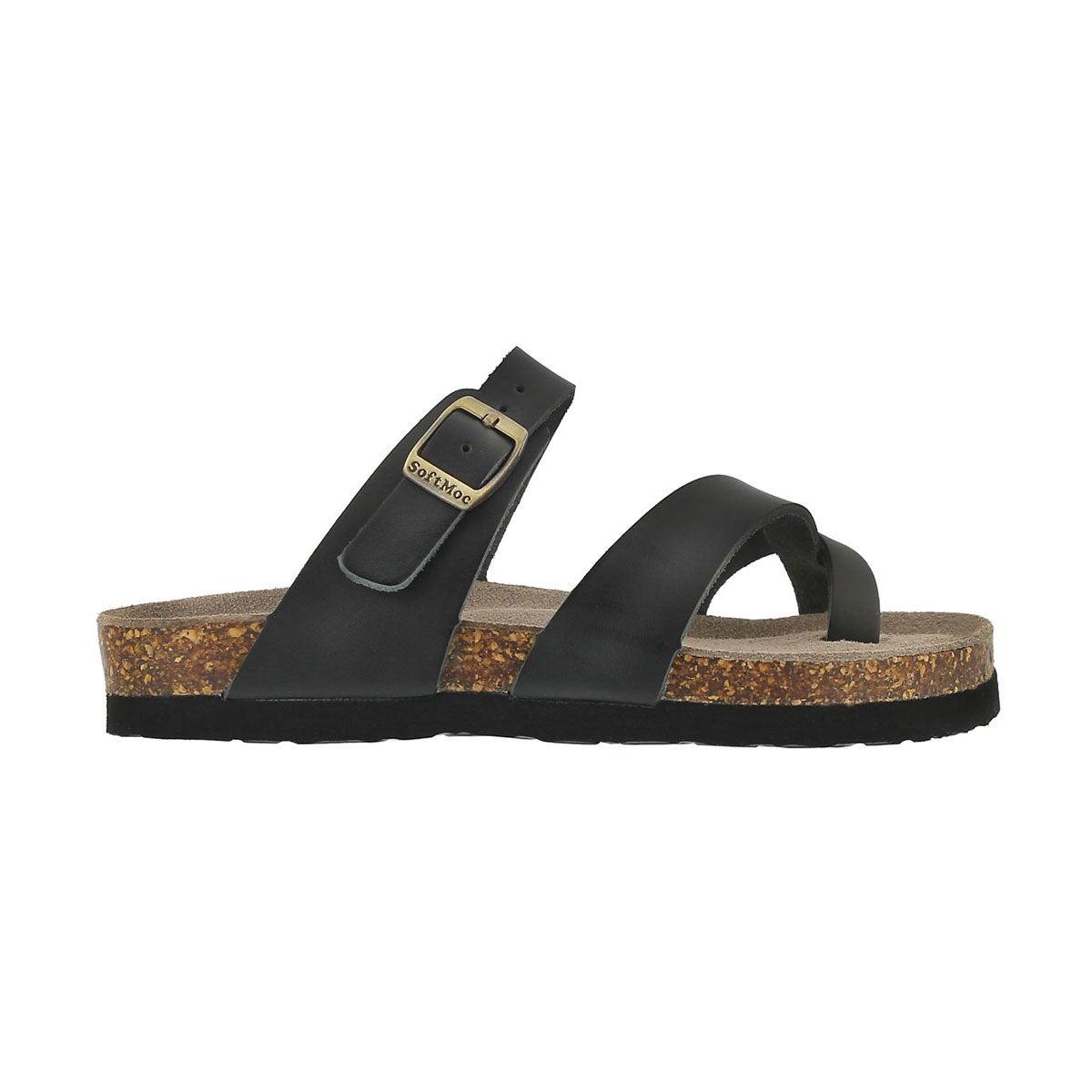 Grls Alicia black lthr toe loop sandal