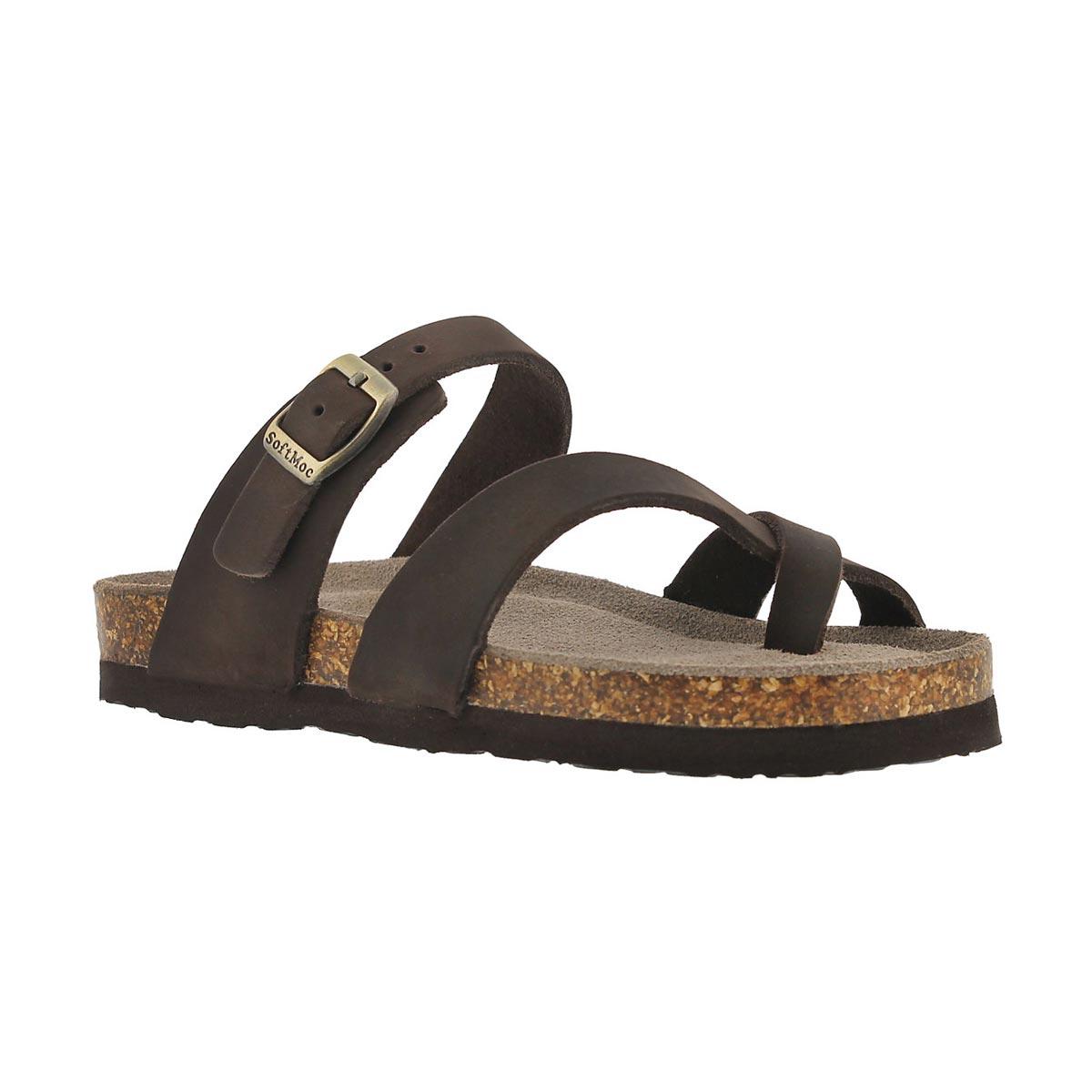 Girls' ALICIA brown leather toe loop sandals
