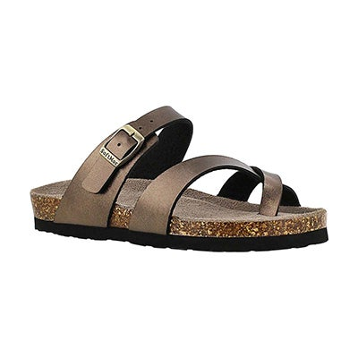 Grls Alicia gold brown toe loop sandal