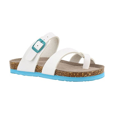 SoftMoc Girls' ALICIA white patent toe loop sandals