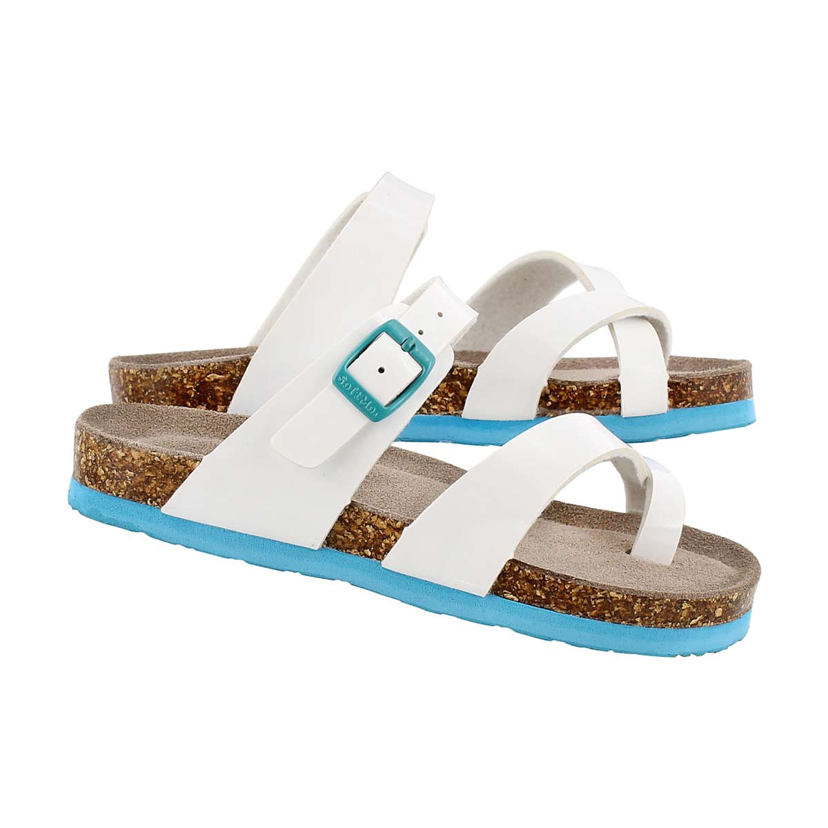Sandale Alicia, cuir verni blanc, filles
