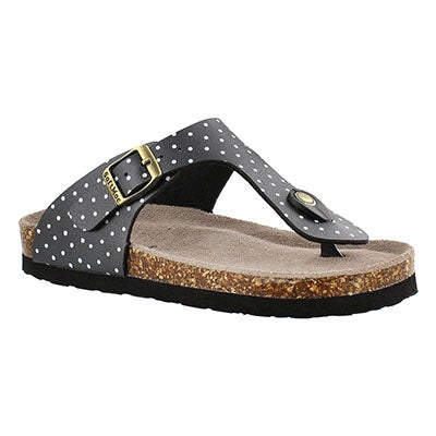SoftMoc Girls' ALISON 2 black/white dot thong sandals