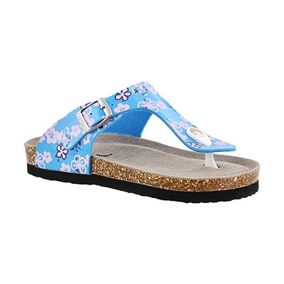 SoftMoc Girls' ALISON 2 blue print thong sandals