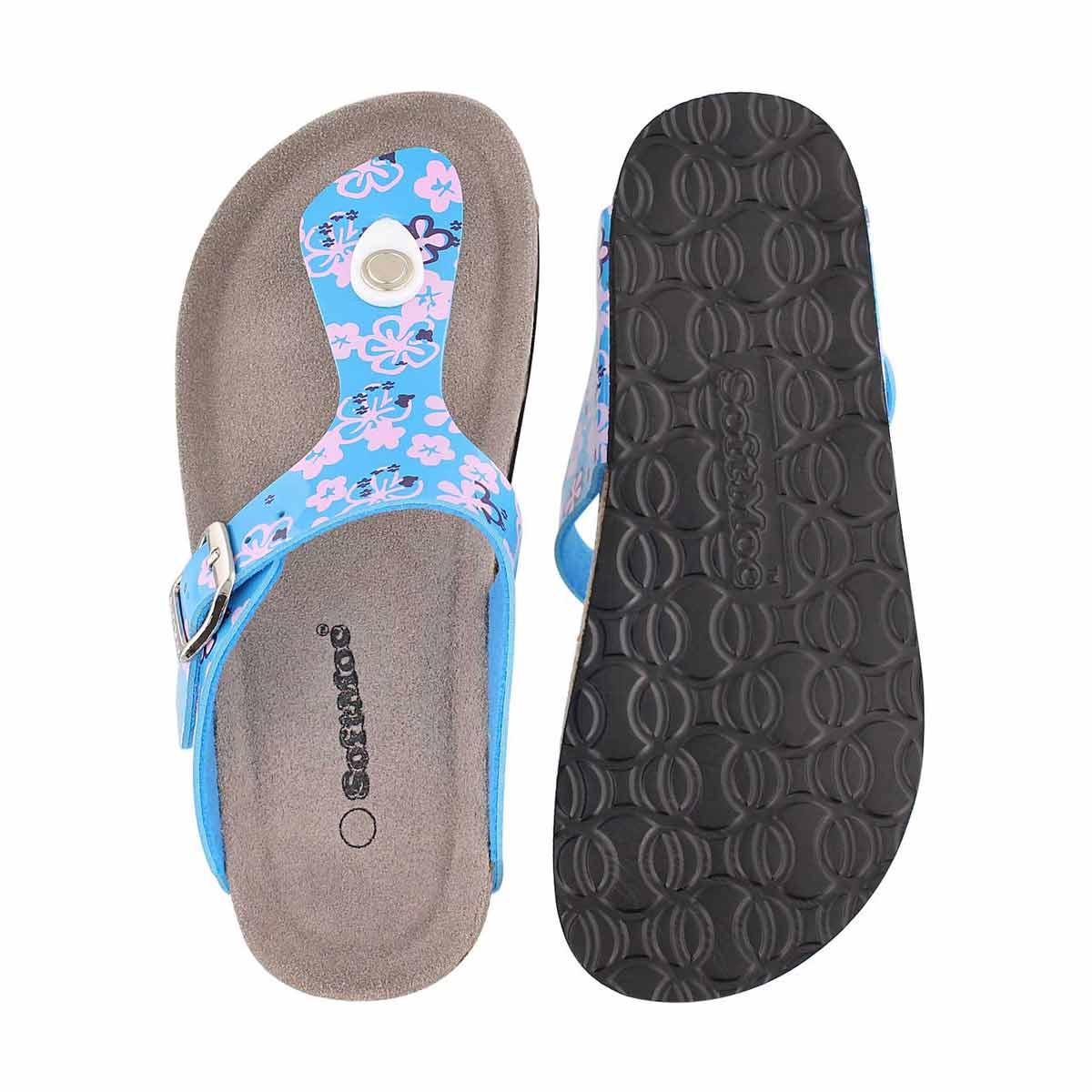 Grls Alison2 blue print thong sandal