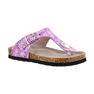 SoftMoc Girls' ALISON 2 purple print thong sandals