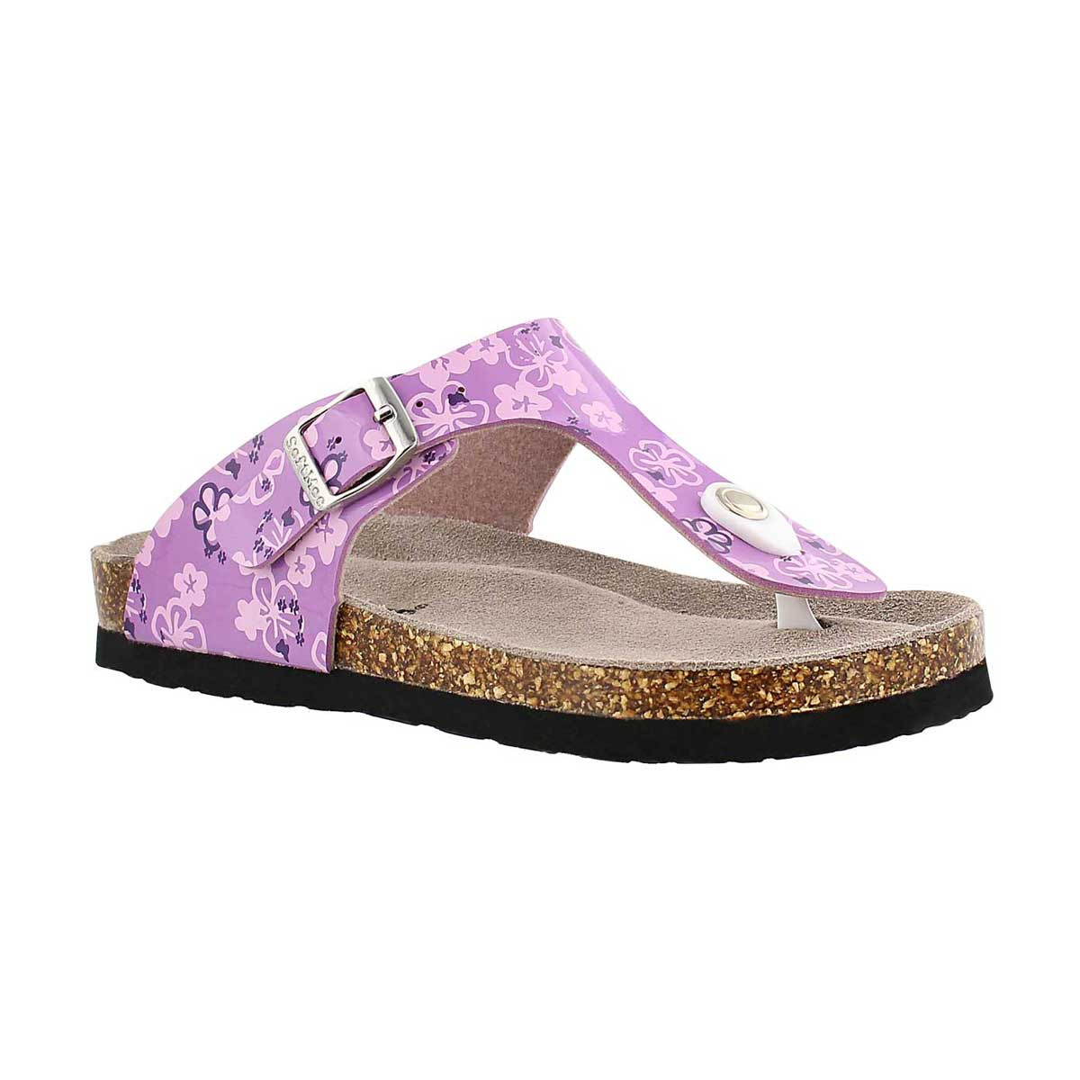 Grls Alison purple print thong sandal