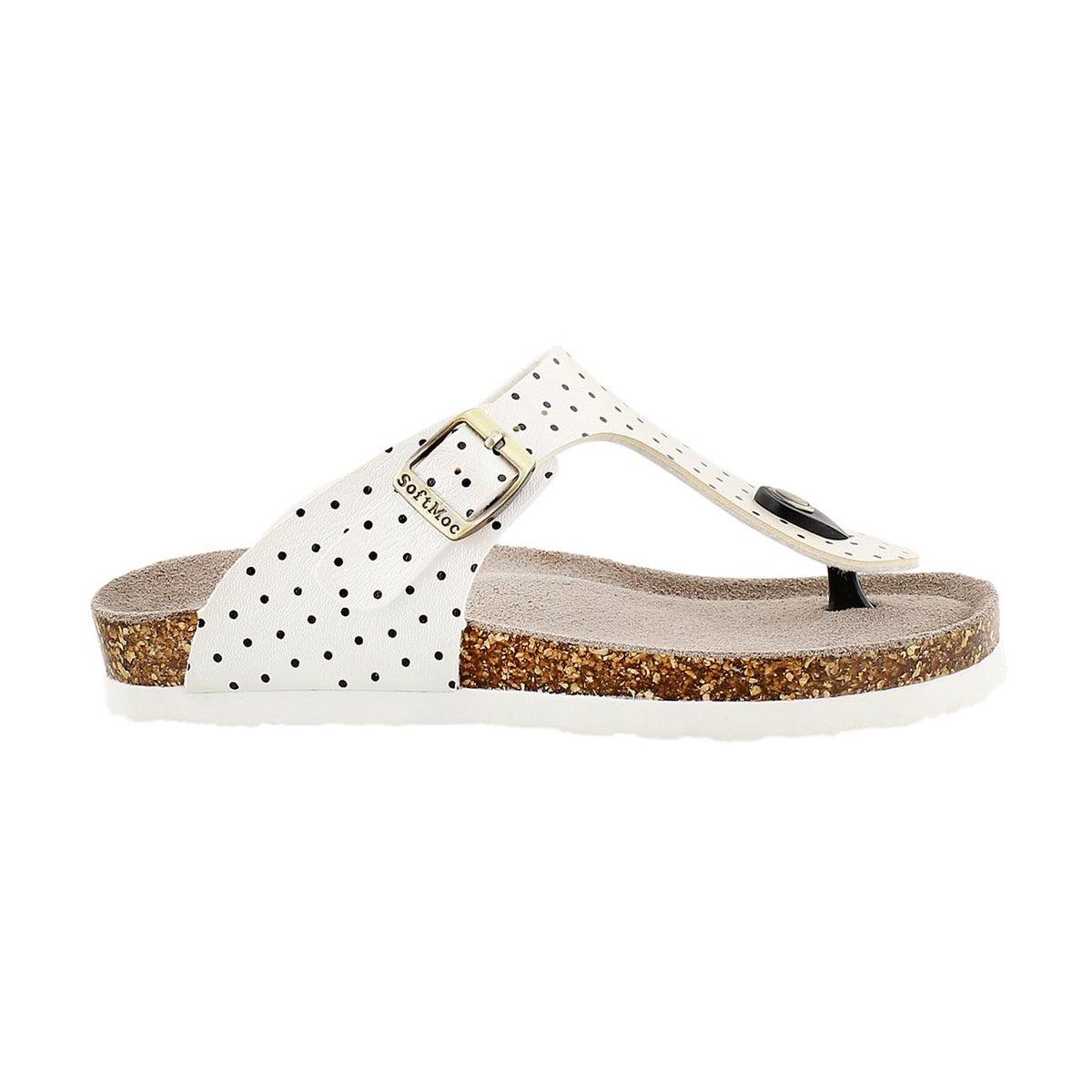 Grls Alison2 wht/blk dot thong sandal
