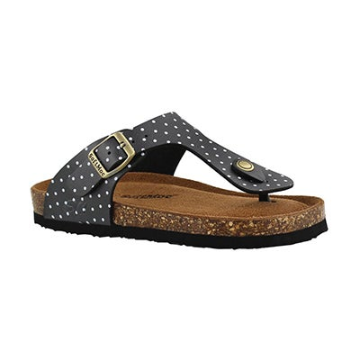 SoftMoc Girls' ALISON 5 black/white dot sandals