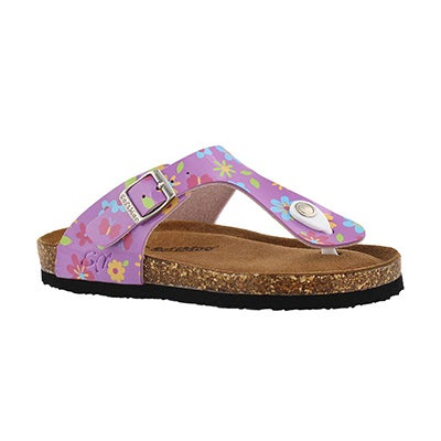 SoftMoc Girls' ALISON 5 pink flower memory foam sandals