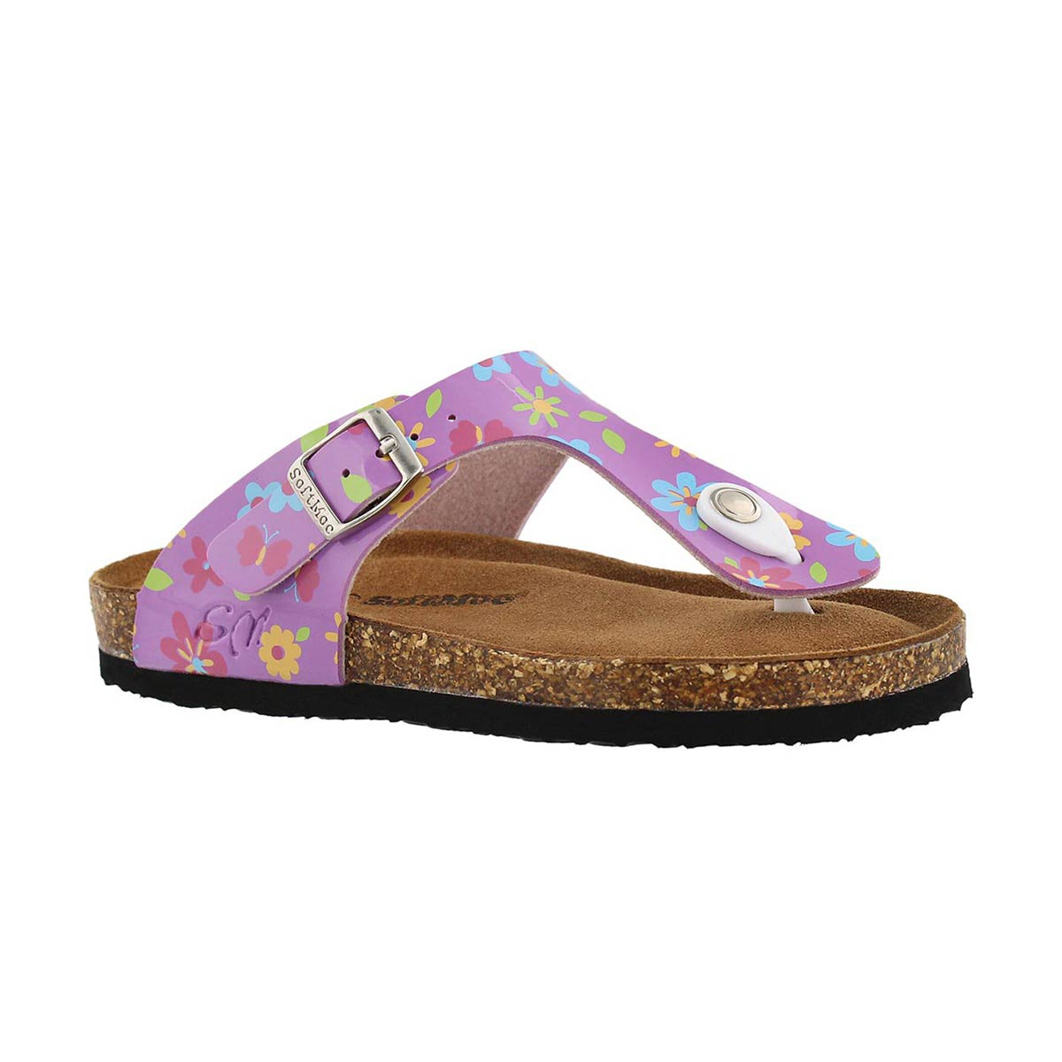 Girls' ALISON 5 pink flower memory foam sandals