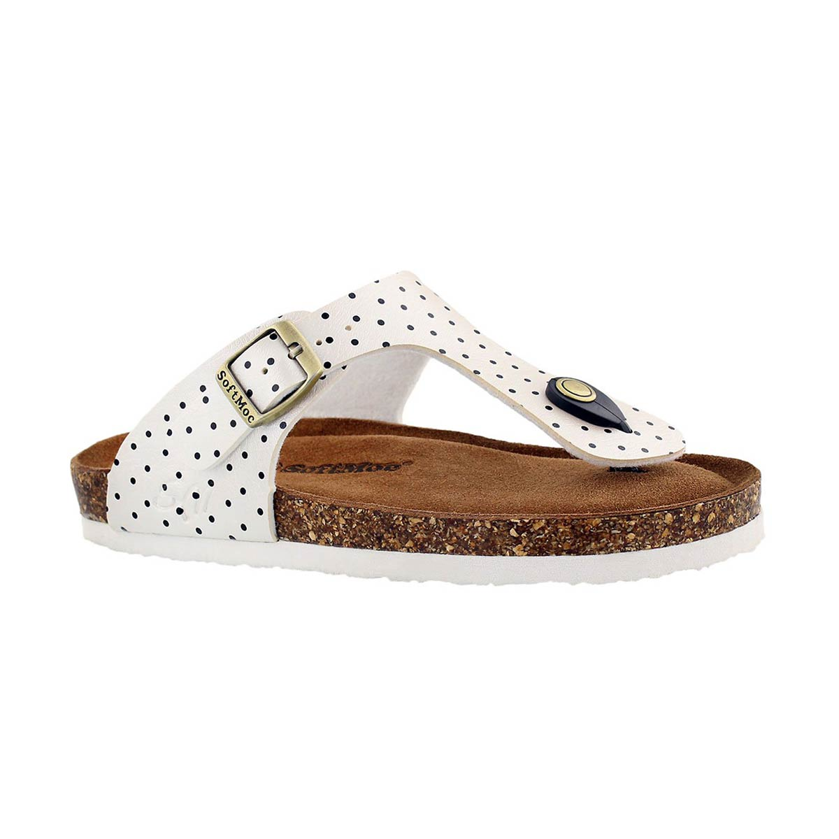 Girls' ALISON 5 white/black dot sandals