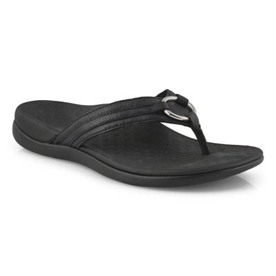 Lds Aloe black leather thong sandals