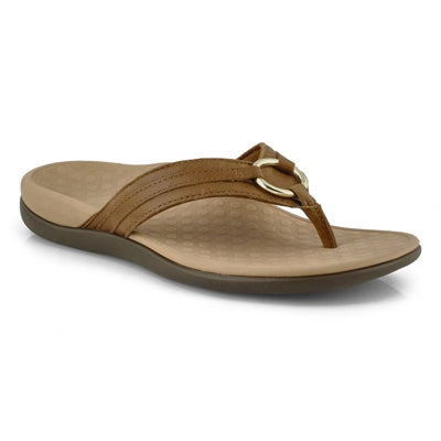 Lds Aloe mocha leather thong sandals