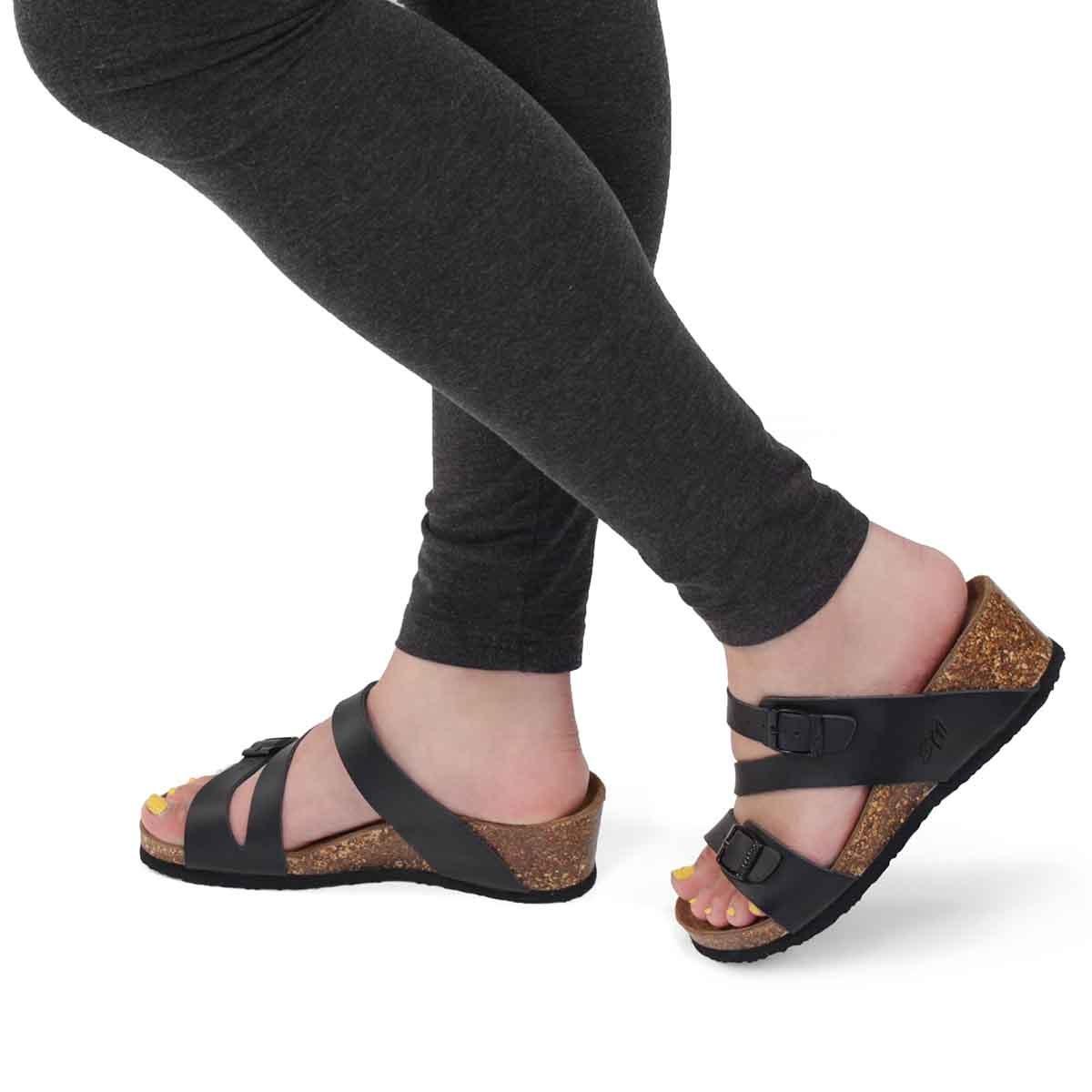 Lds Althea 5 blk memory foam wdg sandal