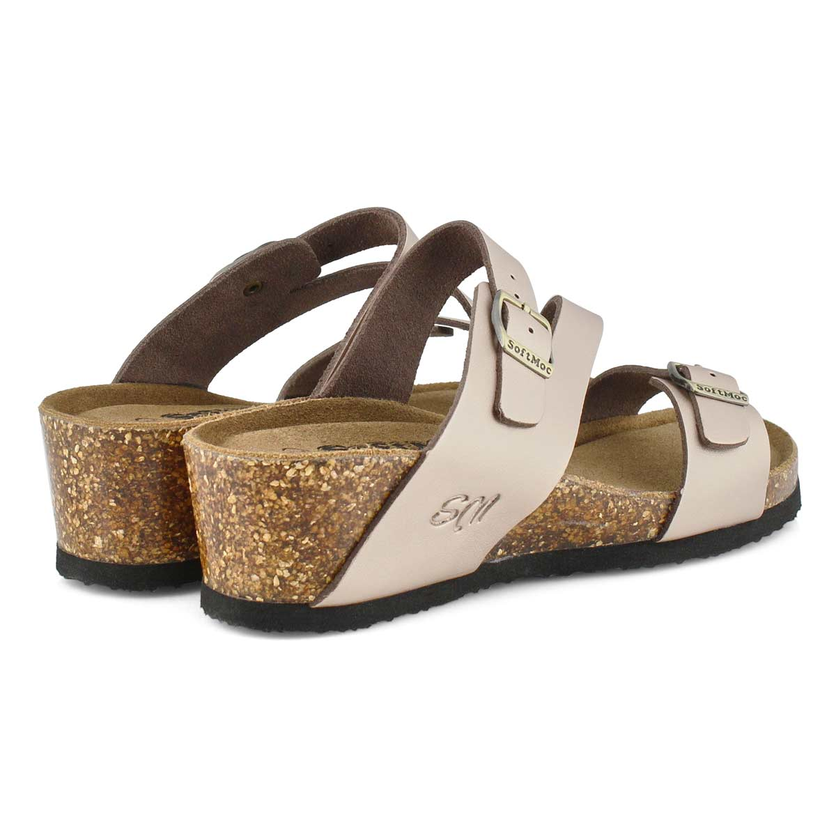 Lds Althea 5 rse gld mem foam wdg sandal