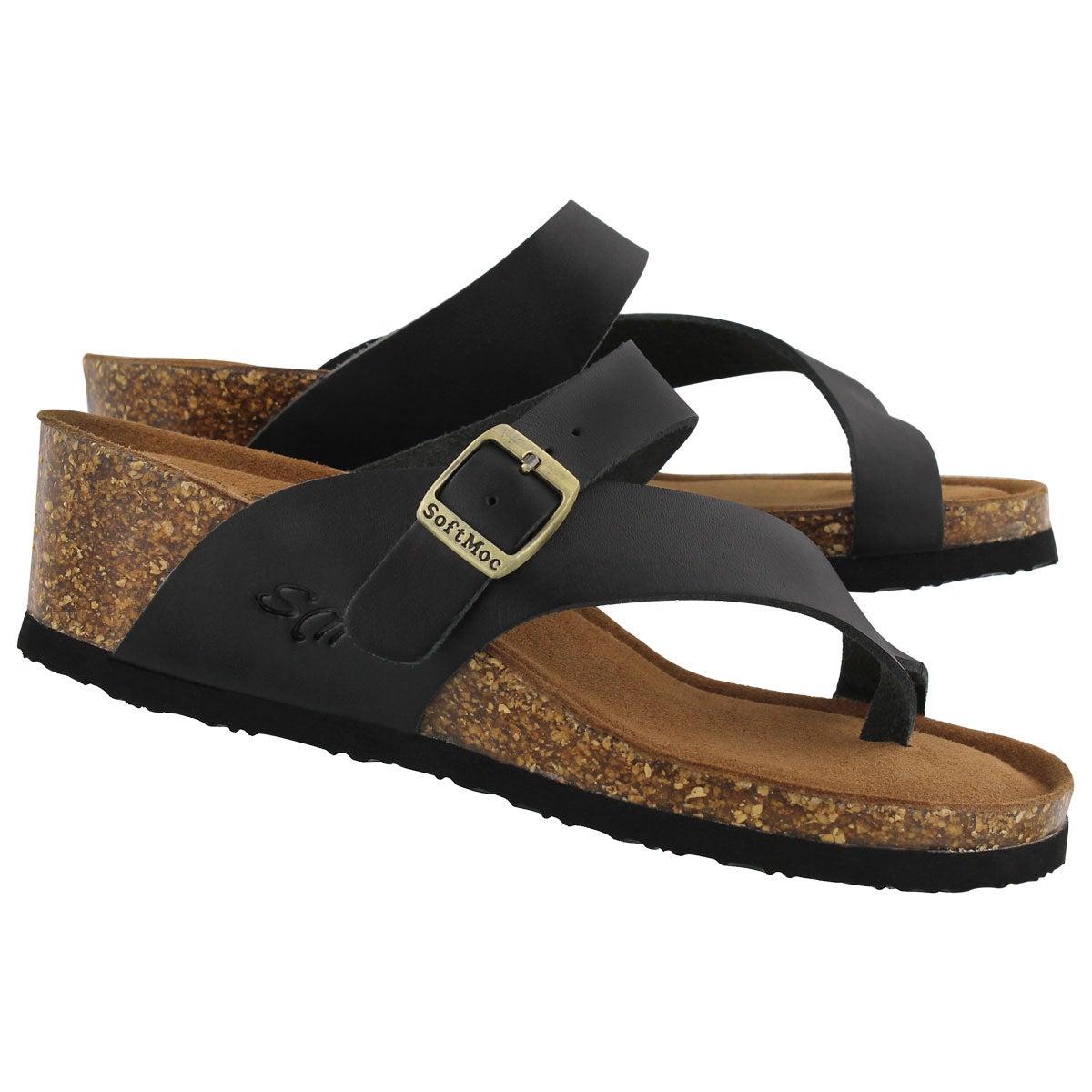 Lds Amber 5 black memory foam wdg sandal