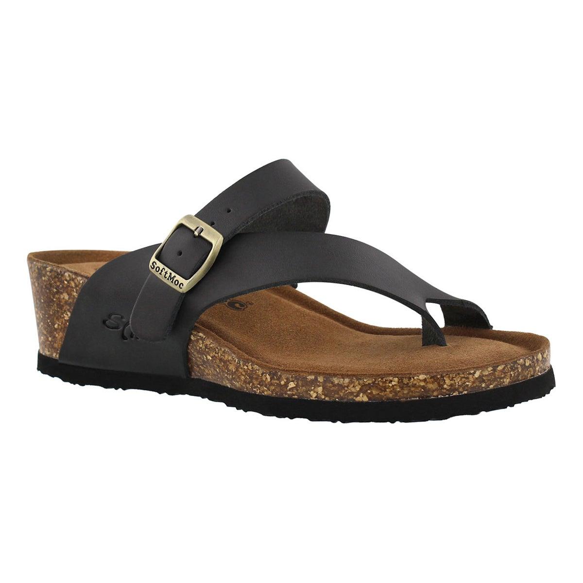 Women's AMBER 5 black memory foam wedge sandals