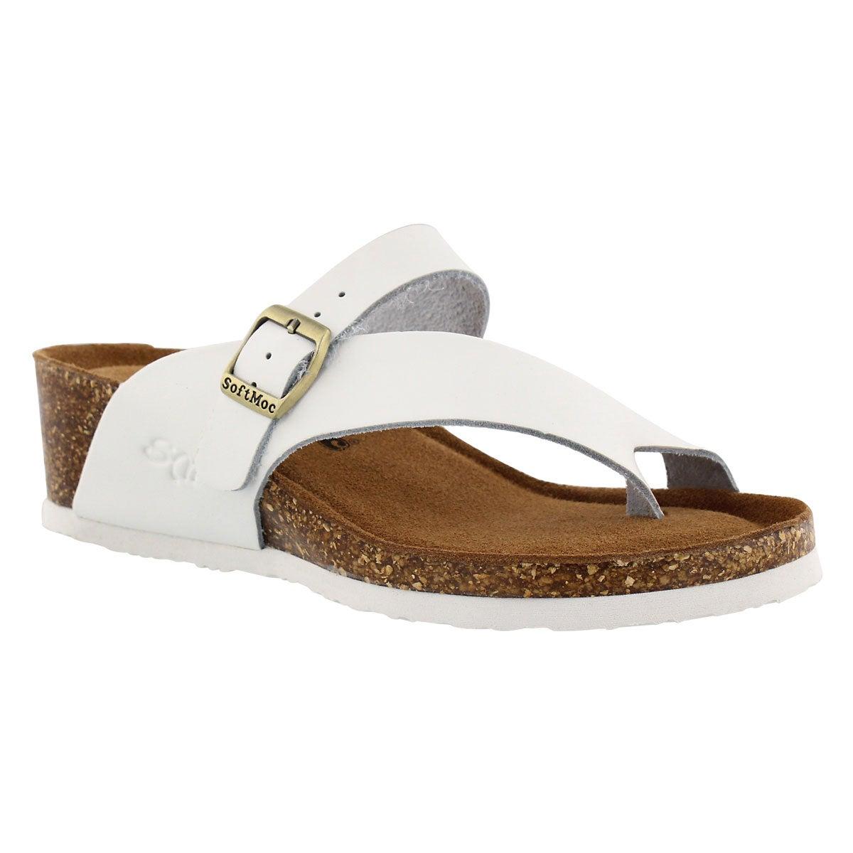 Women's AMBER 5 white memory foam wedge sandals