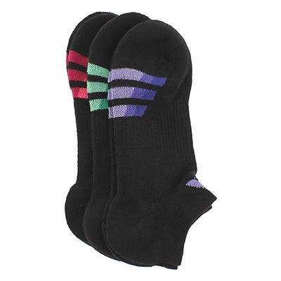 Lds Cushioned Variegated bk/mlt sock-3pk