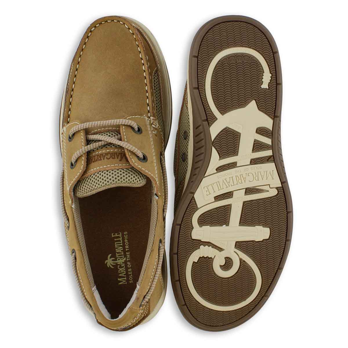 Mns Anchor tan lace up boat shoe