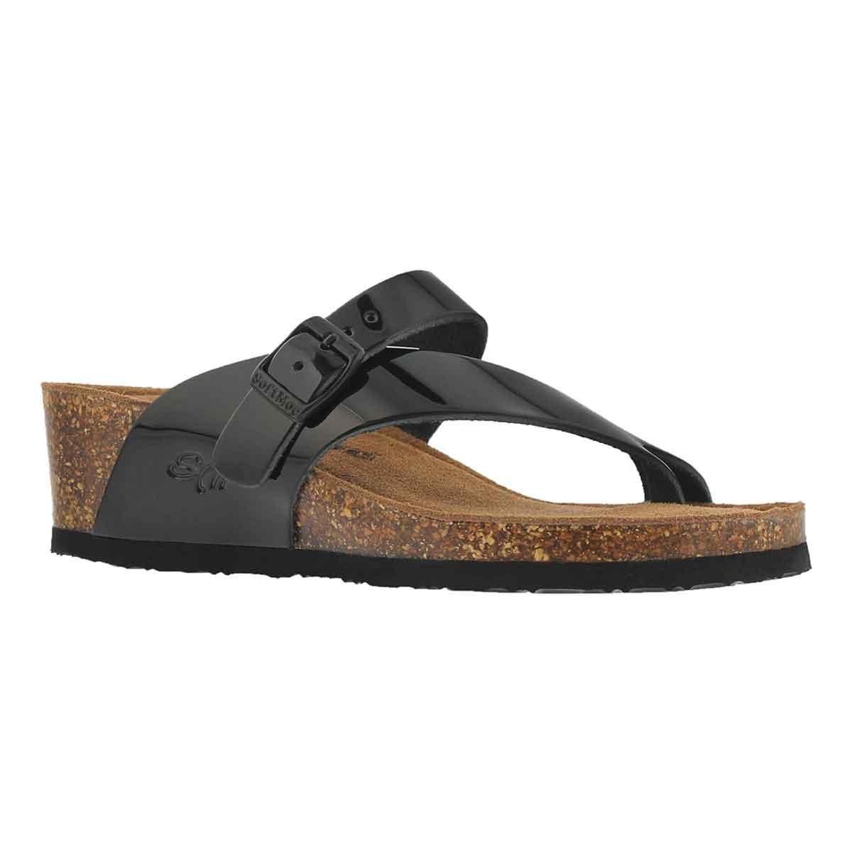 Lds Andrea 5 blk pat mem foam wdg sandal