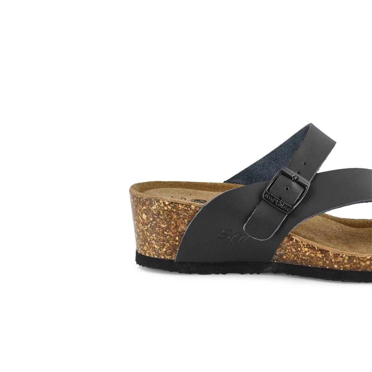 Lds Andrea5 black memory foam wdg sandal
