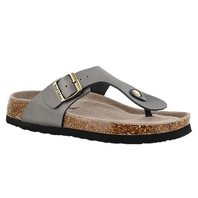 SoftMoc Women's ANGY 4 pewter memory foam footbed sandals