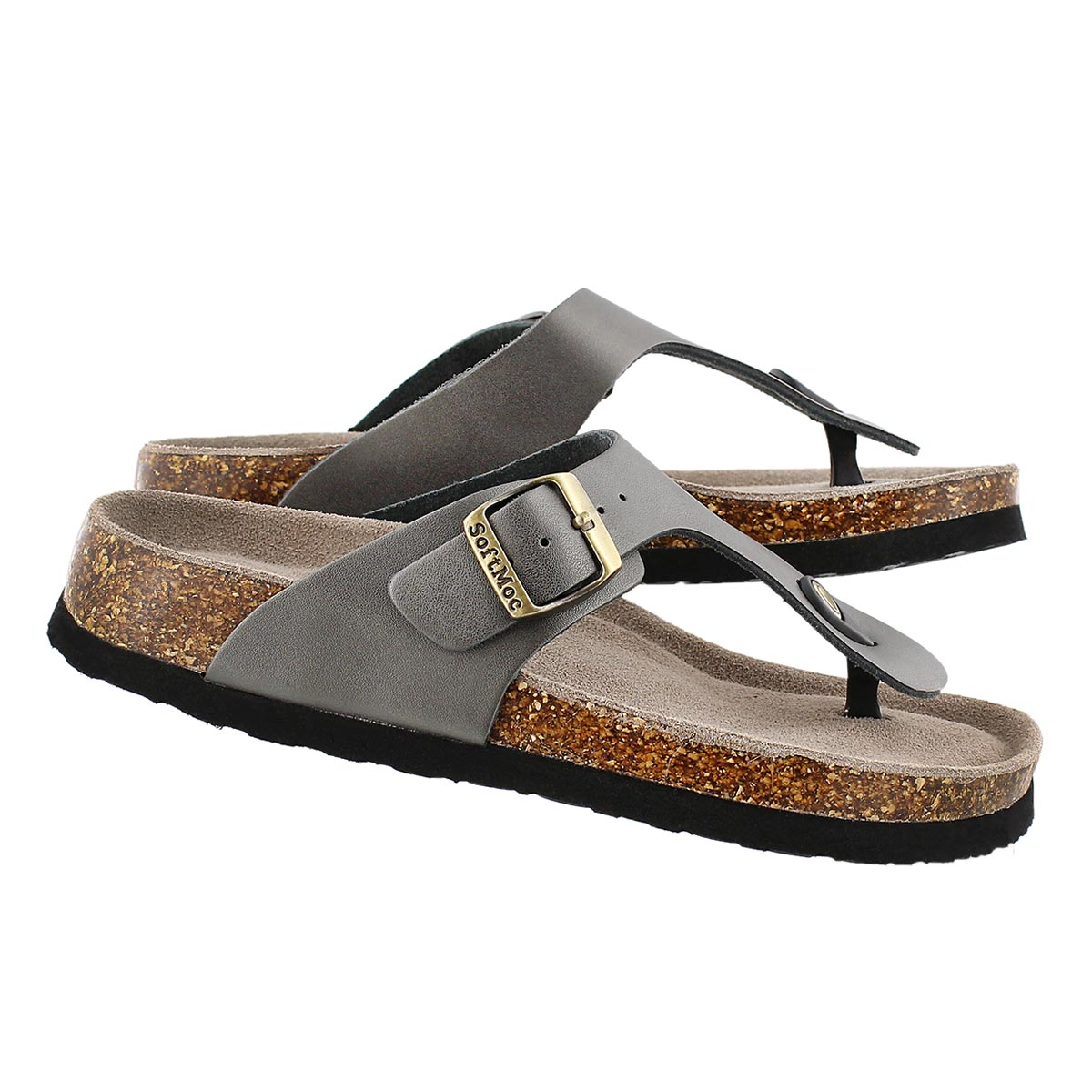 Lds Angy 4 pewter memory foam sandal
