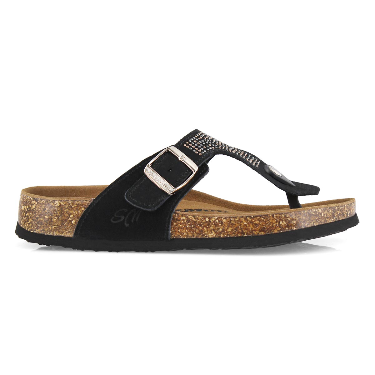 Lds Angy 5 Bling blk perf thong sandal