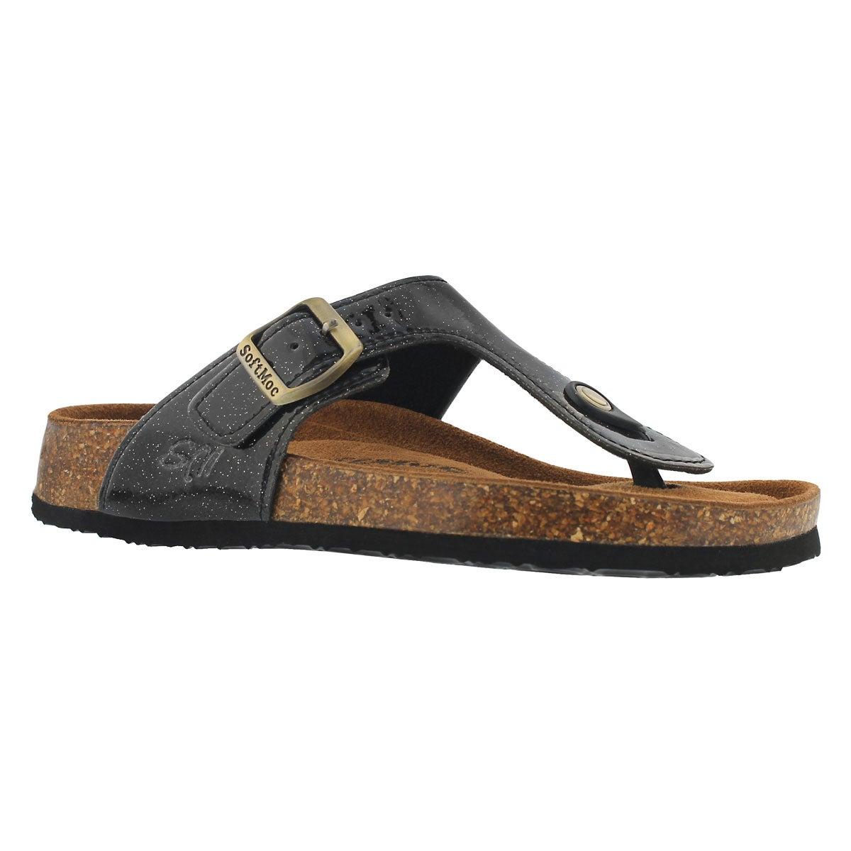 Women's ANGY 5 bk glt memory foam thong sandals