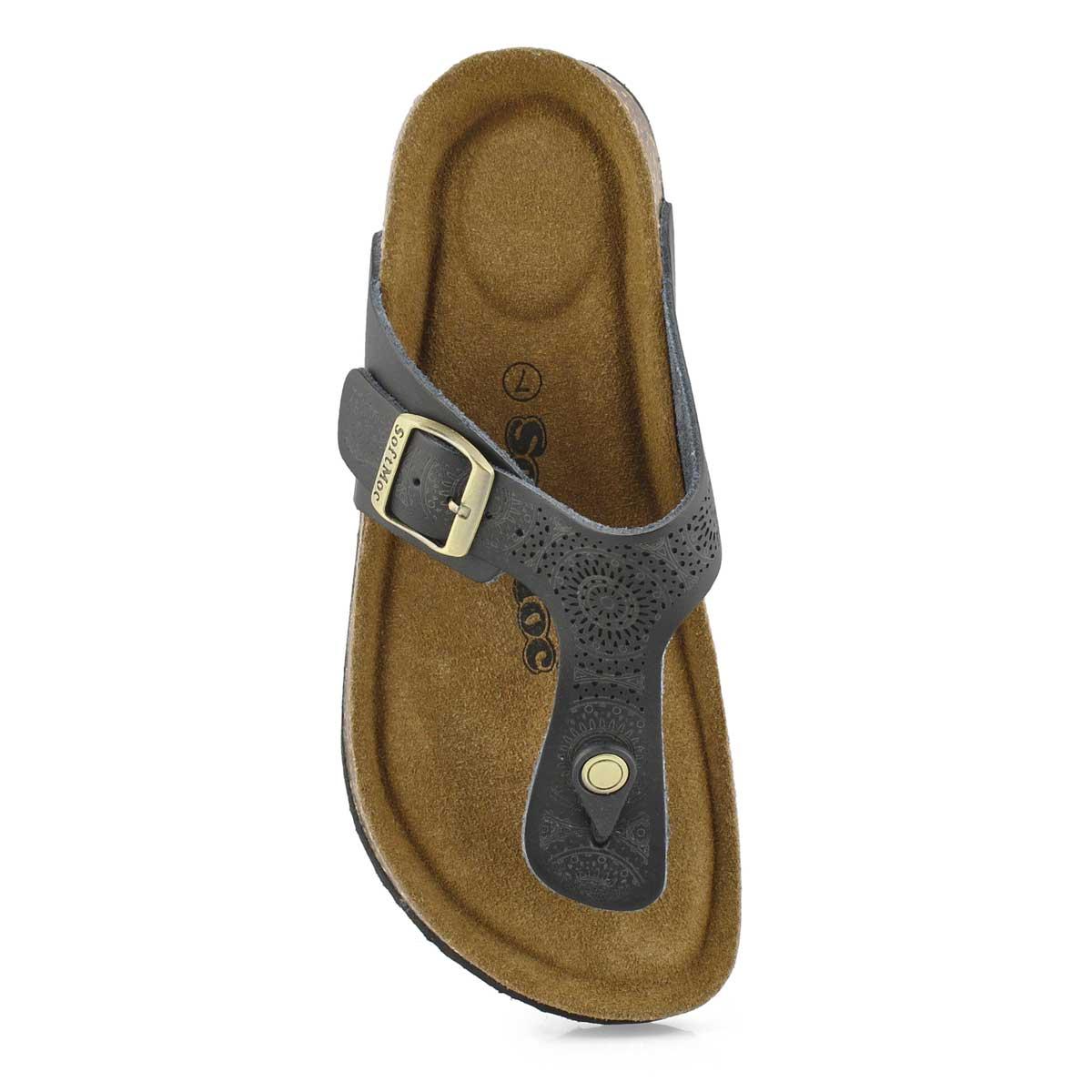 Lds Angy 5 blk perf mem foam thng sandal