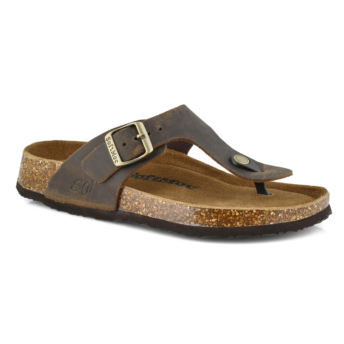 Women's ANGY 5 brown memory foam thong sandals