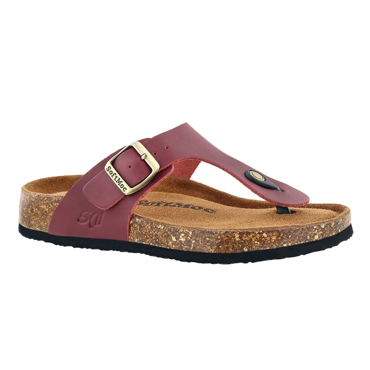 Women's ANGY 5 burgundy memory foam thong sandals