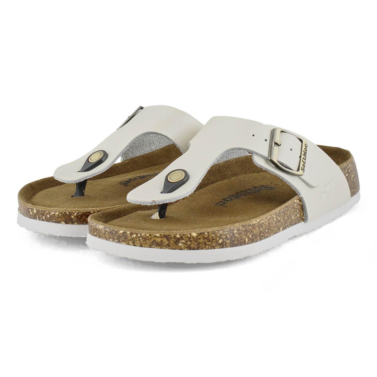 Lds Angy 5 prl wht mem foam thong sandal