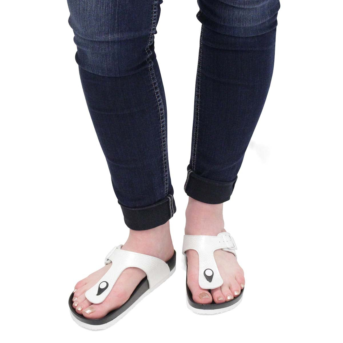 Lds Angy 5 Print wht footbed thng sndl