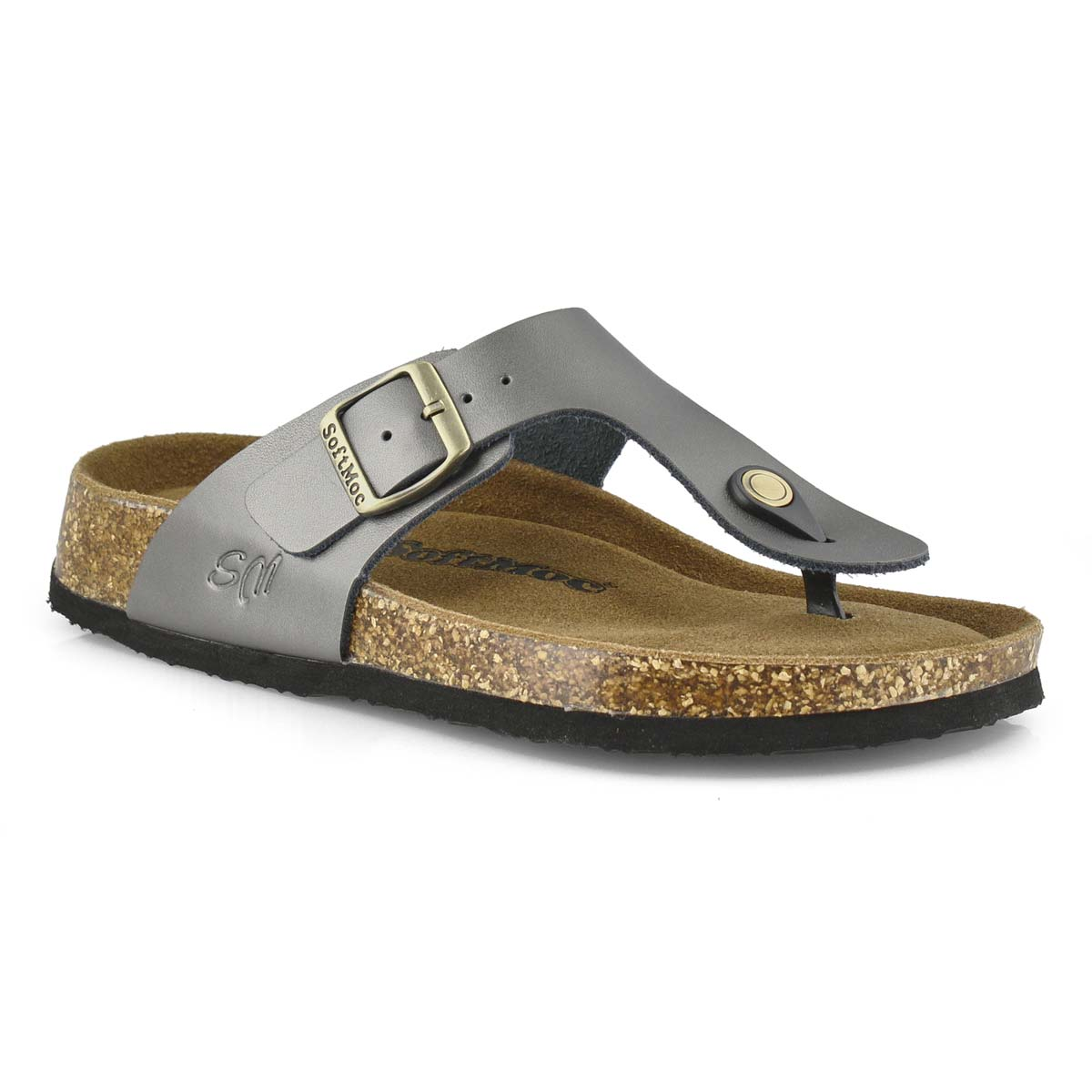 Women's ANGY 5 pewter memory foam thong sandals