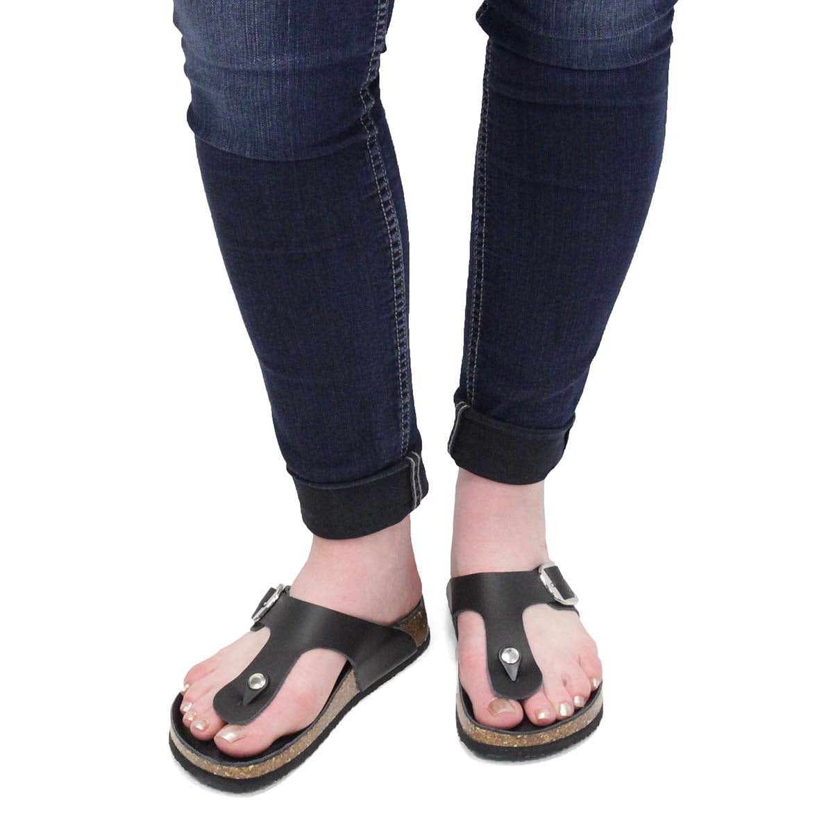 Lds Angy5 Smooth black thong sandal