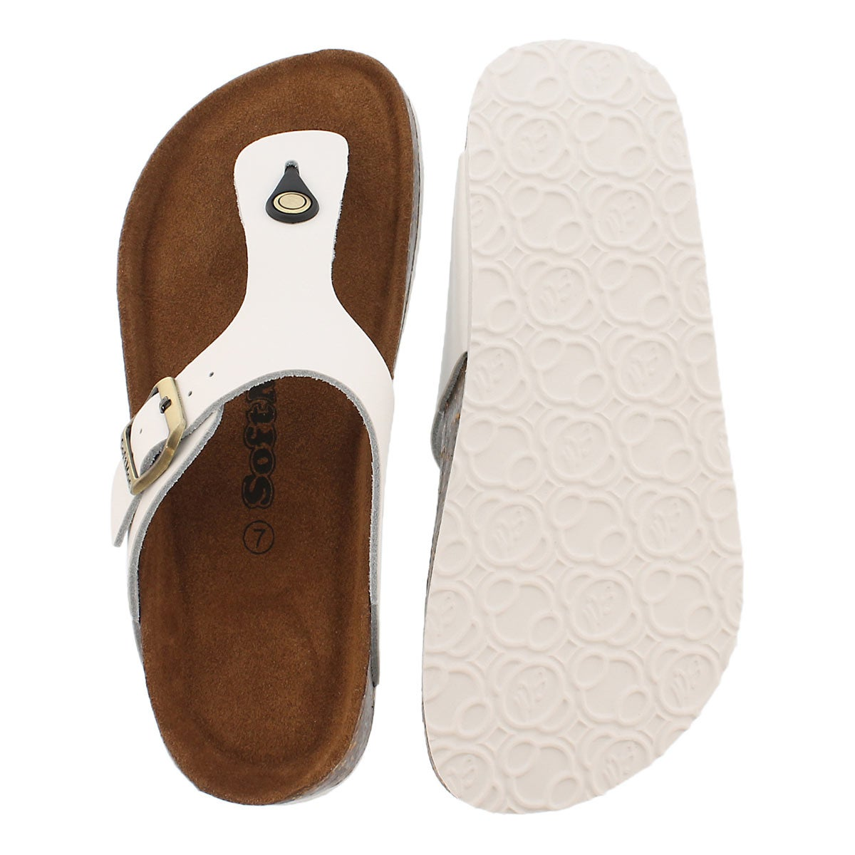 Lds Angy 5 wht memory foam thong sandal