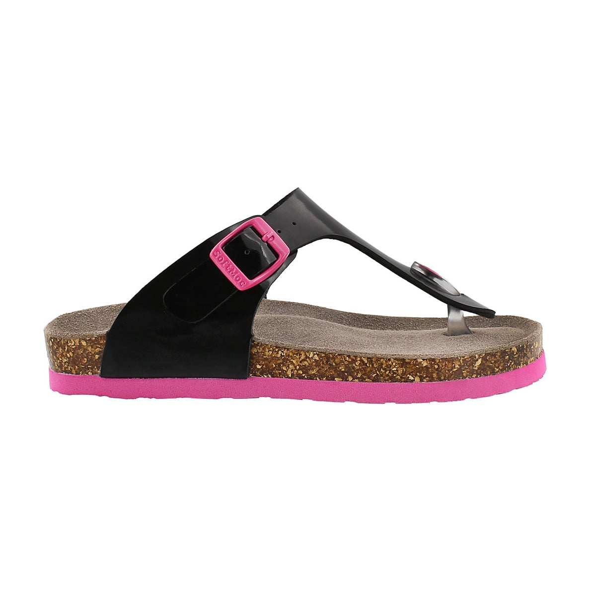 Grls Angy 3 black patent thong sandal