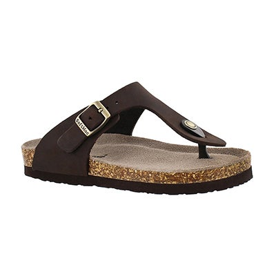 SoftMoc Girls' ANGY 3 brown thong sandals