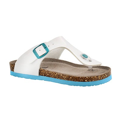 SoftMoc Girls' ANGY 3 white patent thong sandals