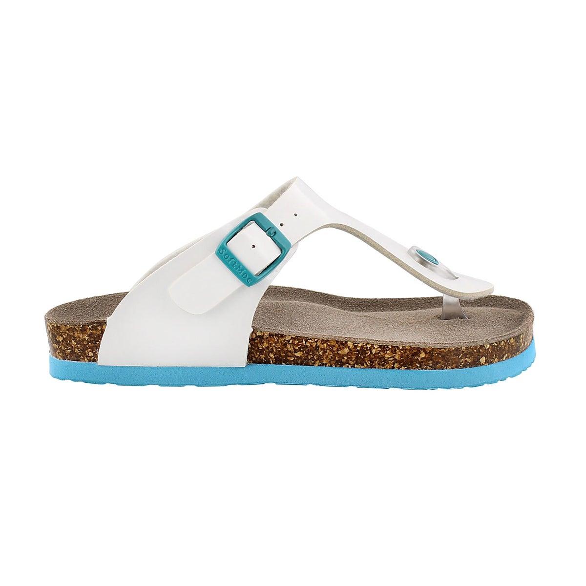 Grls Angy 3 white patent thong sandal