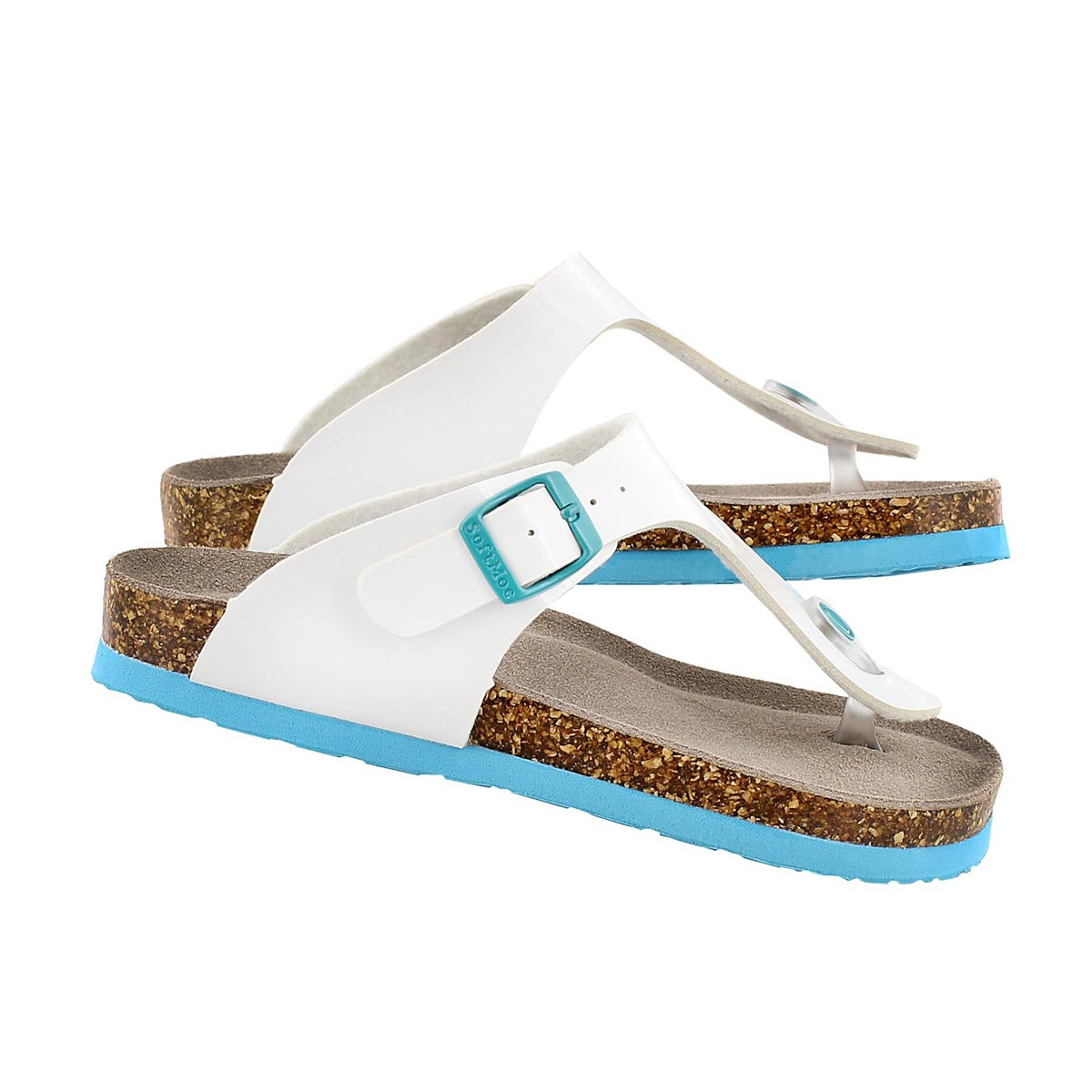 Grls Angy 3 white patent thong sandal