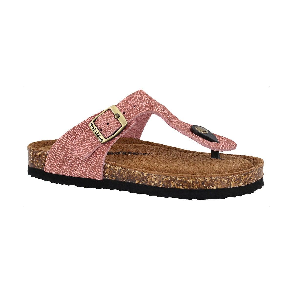 Girls' ANGY 5 blush memory foam thong sandal